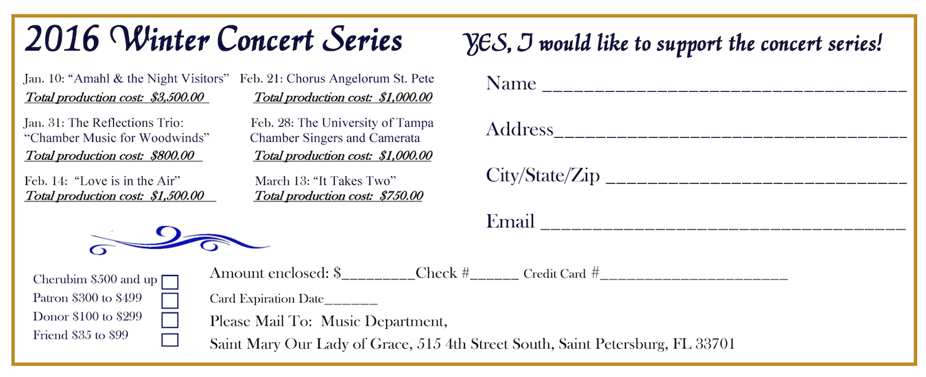 2016 Winter Concert Series Sponsorship Form